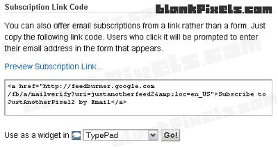 Email Subscription text link codes - blankpixels.com