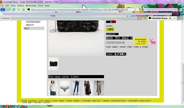 Charlotte Russe recommendation screengrab
