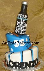 Two tier custom blue, white and black Mad Hatter men's birthday cake with Absolut bottle topper, cigars and diamonds (arteatsbakery) Tags: birthday blue black sc cake diamonds unique stripe cigar bakery absolut custom greenville madhatter fondant simpsonville