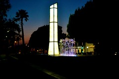 Night Light (Clare-White) Tags: light monument water trees dark night roses spain sky blue fountain matchpoint winner t556