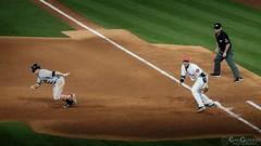 Gardner to second (Evan Gearing (Evan's Expo)) Tags: baseball houston houstonastros majorleaguebaseball minutemaidpark mlb newyorkyankees stadium texas tx unitedstates us