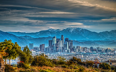 City in the Clearing (Michael F. Nyiri) Tags: skyline losangeles southerncalifornia dtla kennethhahnstaterecreationarea mtbaldy snowcapped