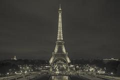 Classic (gimmeocean) Tags: eiffeltower paris france night handheld bw blackandwhite