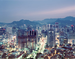 Seoul #48 -prescan (Thomas Birke) Tags: road urban mountains film analog kodak 8x10 300mm seoul metropolis lighttrails southkorea largeformat p2 sinar namsan streat schneiderkreuznach republicofkorea megacity e100g 56300 myengdong aposymmarl