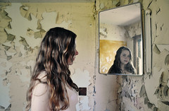 yulia (yyellowbird) Tags: house reflection abandoned girl mirror illinois peeling paint chelsey