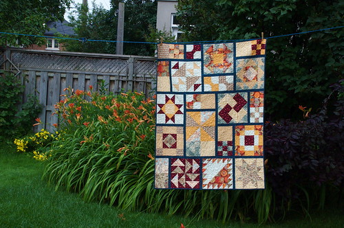 Quilt and daylilies