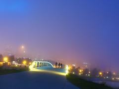 Deadliest Summerfest yet. (senator dingdong) Tags: nightphotography bridge fog lakemichigan milwaukee summerfest bikecops nightphotograpghy