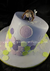 Nicole's 18 years Birthday Cake (Dot Klerck....) Tags: girl southafrica purple limegreen capetown dot polkadots 18 chocolatecake topsyturvy cupcakesbydesign