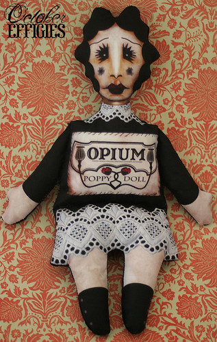Opium poppy stuffed print doll