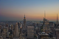 New York City Sunset - Top of the Rock Manhattan NYC [EXPLORED] (DiGitALGoLD) Tags: new york city nyc sunset building rock skyline night nikon shot state dusk top manhattan center empire rockefeller f28 d3 2470mm digitalgold