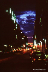 Darkness (Rafakoy) Tags: street city nyc light sky ny newyork color colour cars film colors night 35mm dark 50mm lights photo chelsea colours fuji darkness manhattan slide exposition late fujifilm positive avenue e6 canonae1program nite underexposed velvia100f ae1program fujivelvia100f realphotography epsonv600 epsonperfectionv600photo epsonperfectionv600 newcanonfd50mmf14 aldorafaelaltamirano rafaelaltamirano aldoraltamirano