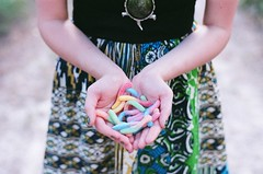 day 162: untitled [film]. (ayana.) Tags: film girl hands nikon fuji dress candy 200 fujifilm worms expired campbell gummy ayana fg20