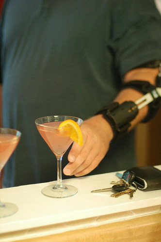 Bionic arm and blood orange martini