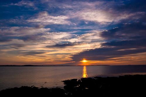海洋,鲁嫩堡港上空的日出
