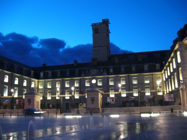The plaza at night