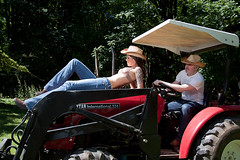 Down on the farm with Speakeasy Lingerie and Modeling (OregonVelo) Tags: woman white tractor man male female cowboy jean lingerie jeans vest brunette bluejeans cowboyhat cowboyboots whiteshirt fram ranchhand brittanyd speakeasylingerie speakeasymodeling keithweldon