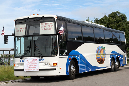 Cedar Key Transit Bus Awaits the Start of the Clamerica Celebration Parade