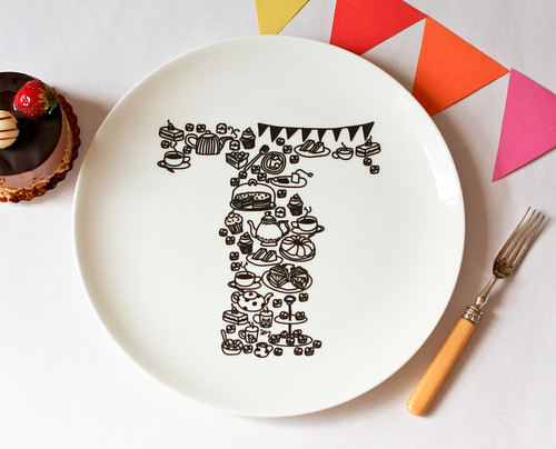 T for Tea Time plate