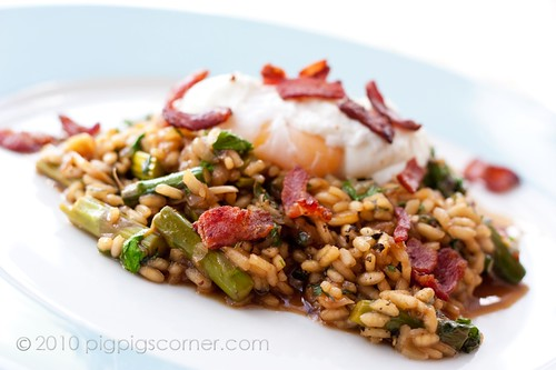 Asparagus Risotto with Bacon Broth