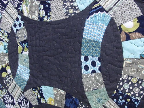 Finished Double Wedding Ring Quilt (Detail) - Modern Meadow & Hope Valley