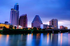 Blue hour in Austin (Jim Nix / Nomadic Pursuits) Tags: morning blue orange lake color reflection beautiful skyline architecture buildings austin river lights early cityscape twinkle sparkle photoblog coloradoriver townlake bluehour hdr highdynamicrange photomatix tonemapped tonemap ladybirdlake austonian nomadicpursuits
