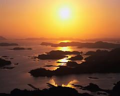 CB030330 (TMarieShines) Tags: light sun japan reflections outdoors photography islands evening asia colorphotography sunsets aerialview nobody skyscenes marinescenes viewfromabove sunrisesandsunsets nagasakiprefecture kyushuregion kujukuisland