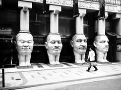 335/365: Pillars, Dudes (joyjwaller) Tags: blackandwhite japan stone pedestrian osaka pillars stalin project365 osakaarchitecture thisaintnorushmore lovehoteldistrict