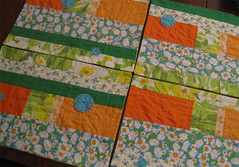 Green Grass and Sunshine Patchwork Placemats (crafty bean) Tags: blue orange green daisies dinner lunch place embroidery circles mat dining setting applique embroidered daffodils placemats