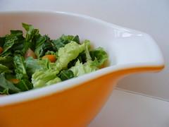summer salad in friendship bowl (Tulip Girl) Tags: orange green tomato salad friendship cinderella 442 romainelettuce oilandvinegar orangepepper