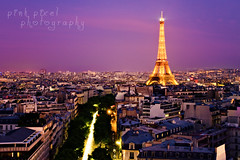 Lady in pink (Pink Pixel Photography (f.k.a. Sunny)) Tags: longexposure pink sunset sky paris eiffeltower explore frontpage canoneos7d pinkpixelphotography