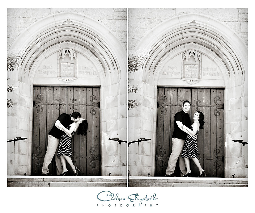 Black and White architecture engagement portrait