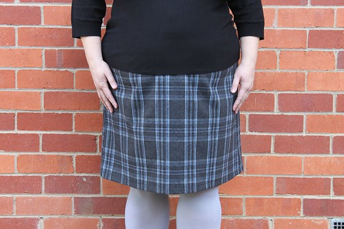 Grey wool plaid skirt