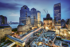 the World Financial Center, New York City (mudpig) Tags: nyc newyorkcity cloud ny newyork building skyline night geotagged newjersey construction jerseycity downtown cityscape nocturnal crane worldtradecenter 4 nj 7 hudsonriver wtc gothamist bluehour westsidehighway discovery goldman groundzero hdr 18thcentury weststreet sachs 7worldtradecenter freedomtower mudpig 1worldtradecenter stevekelley worldtradehotel shiphull