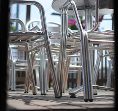 too hot for the patio ~ Red Rocket Coffee (Sally E J Hunter) Tags: toronto chairs patio leslieville redrocket queenstreeteast moo1 redrocketcoffee