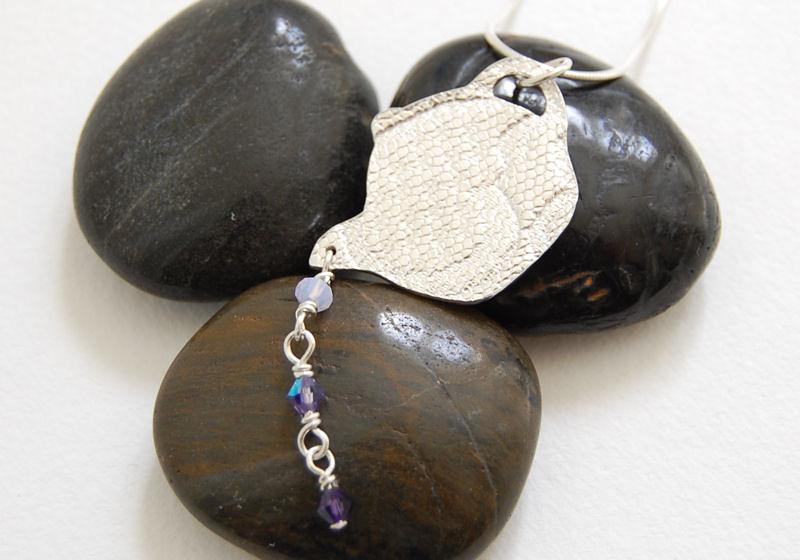Fine Silver Teapot Purple Swki Pendant