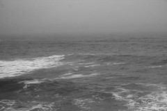 (i n a r t i c u l a t e) Tags: uk sea summer england blackandwhite mist water rain canon cornwall july rough 2010 sloud roughsea
