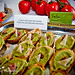Crostini with Fresh Pea Puree, Prosciutto and Pecorino Romano - Catering Example