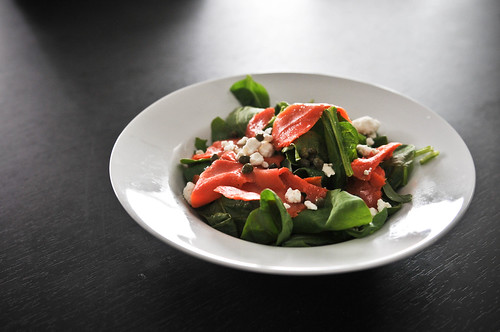 Smoked Salmon Spinach Salad with Goat Cheese and Capers