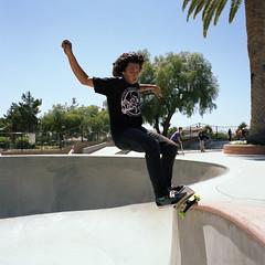Front 50/50 (antix818) Tags: skateboarding kodak bronica skateboard epson eddie mighty portra moreno perfection 160nc 4490