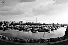 Souq Sharq (Talal Al-Mtn) Tags: sea bw beach birds rock clouds mall boats boat kuwait kuwaitcity souqsharq sultancenter kwt   kuwaitmalls  lm10 kuwaitsea inkuwait talalalmtn  talalalmtnphotography photographybytalalalmtn
