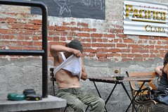 peekaboo! (underwhelmer) Tags: old man bar smoking cigarettes beret wifebeater grizzled