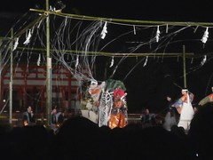 Noh Again (Nicote) Tags: old red music monster japan hair drums spider is costume fight ancient kyoto shrine kill mask audience theatre outdoor web culture dramatic flute special story wig sing acting noh demon actor times language oldest jingu archaic heian thespider
