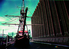 golden hind tri colour (cloudy images) Tags: ri blue boy red west colour green london tower rollei this golden boat photo dock im dam thing bored nat olympus retro oh mast filters now tagging om1 hind tricolour boaty goldenhind floaty moored londonist rolleiretro rodial