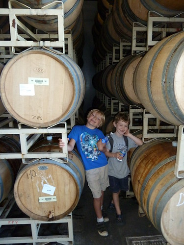 My son Porter & Terrence's son Riley in Russian River's barrel room