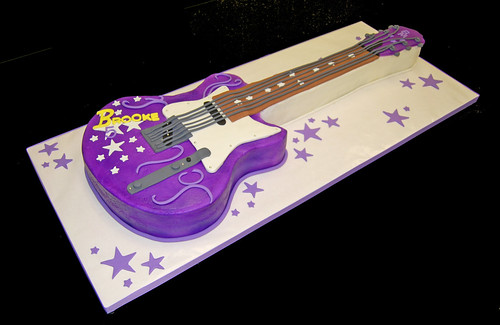 5th birthday purple guitar cake for a rock star themed celebration