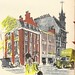 Peter Jones store, Sloane Square, London - sketch by Hugh Casson, 1947