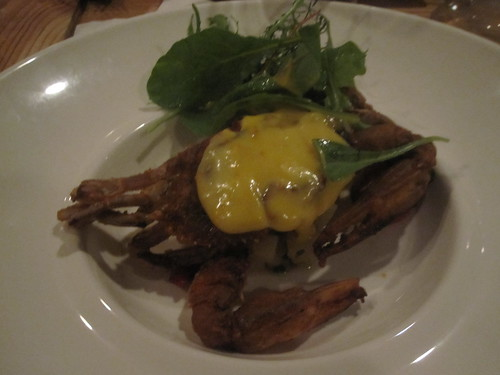 Soft shell crab at Les dons de Dionysos wine at Au 3 petits bouchons