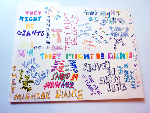 They Might Be Giants folder I drew in high school. Back view.