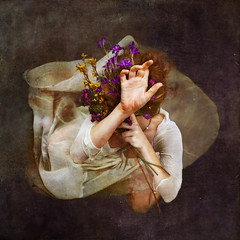 an intimate affair (brookeshaden) Tags: flowers woman water girl dress stems gown intimate affair lookingaway ophelia brookeshaden texturebylesbrumes underwaterbehindthescenesvideo