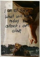 alive atc (evey in orbit) Tags: green art feet atc artisttradingcard tattoo paperart word foot death outsiderart moody mixedmedia gritty artisttradingcards layer labels depressed layers artcard layered artonpaper foottattoo wordsinart